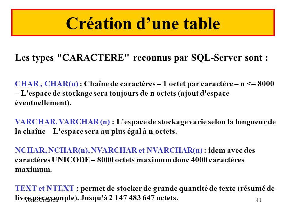 Yonel Grusson41 Création dune table Les types