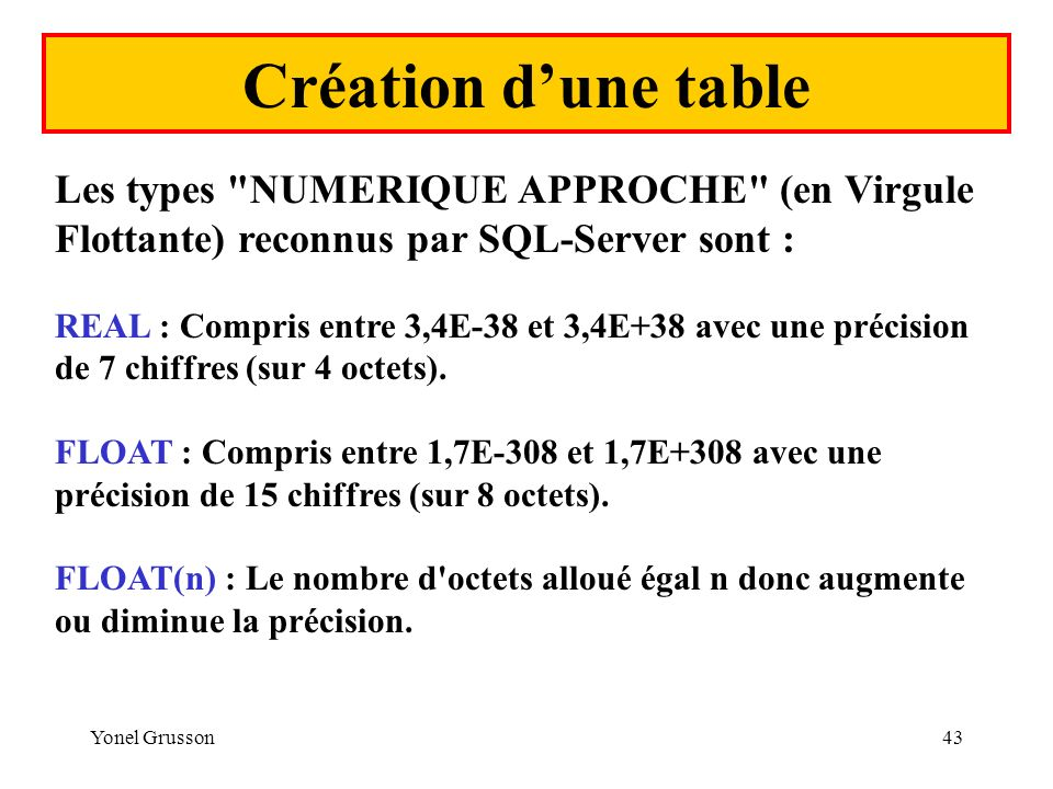 Yonel Grusson43 Création dune table Les types