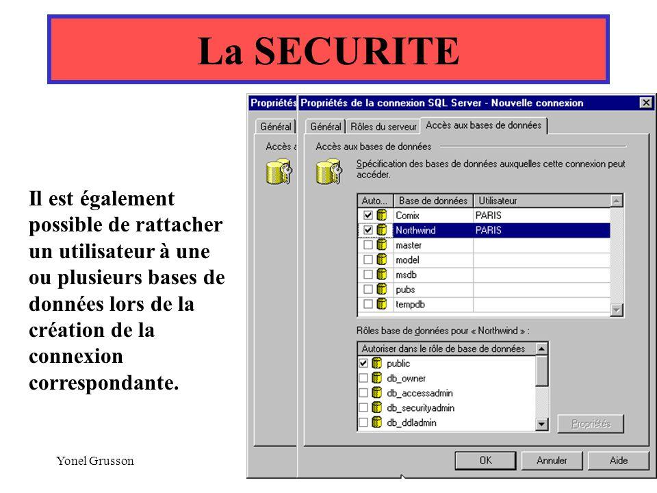 Yonel Grusson66 La SECURITE Il est également possible de rattacher un utilisateur à une ou plusieurs bases de données lors de la création de la connex