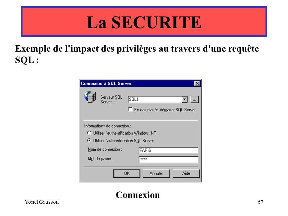 Yonel Grusson67 La SECURITE Exemple de l'impact des privilèges au travers d'une requête SQL : Connexion
