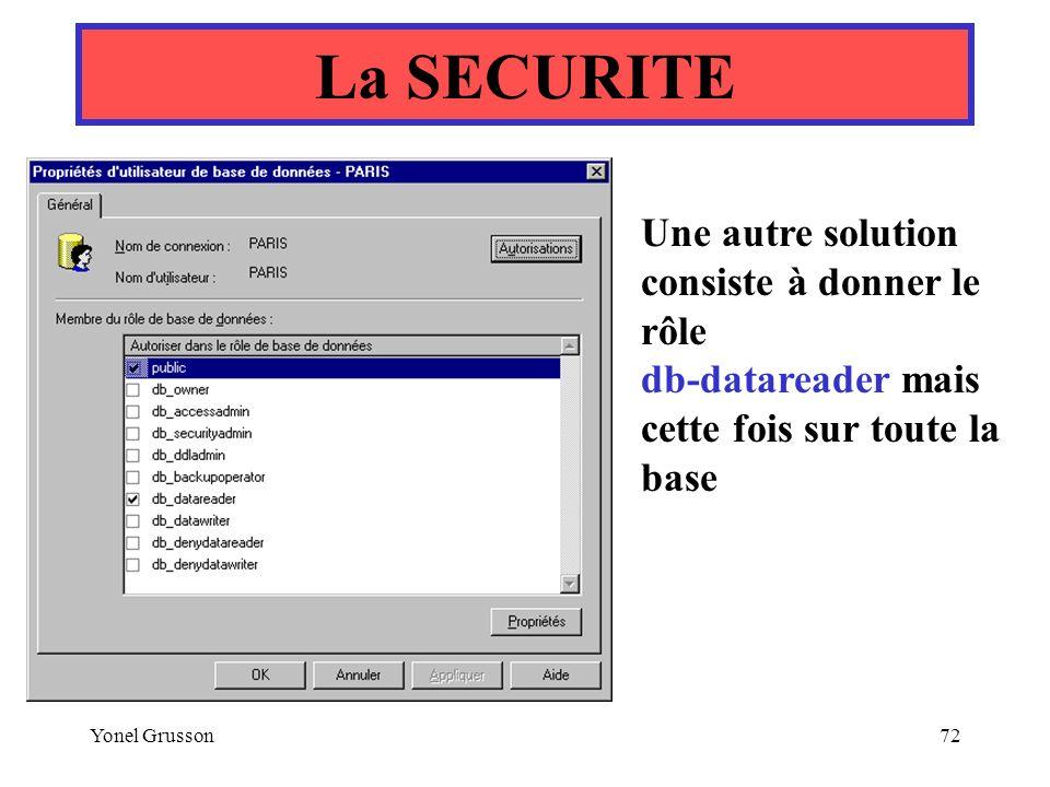 Yonel Grusson72 La SECURITE Une autre solution consiste à donner le rôle db-datareader mais cette fois sur toute la base