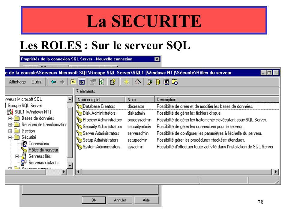Yonel Grusson78 Les ROLES : Sur le serveur SQL La SECURITE