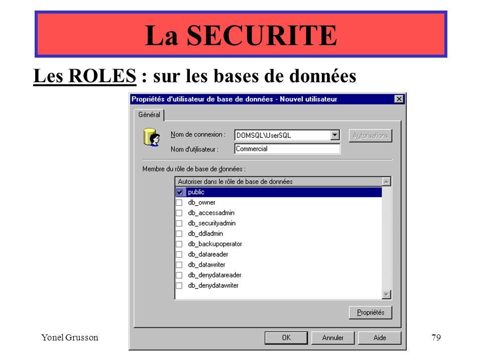 Yonel Grusson79 Les ROLES : sur les bases de données La SECURITE