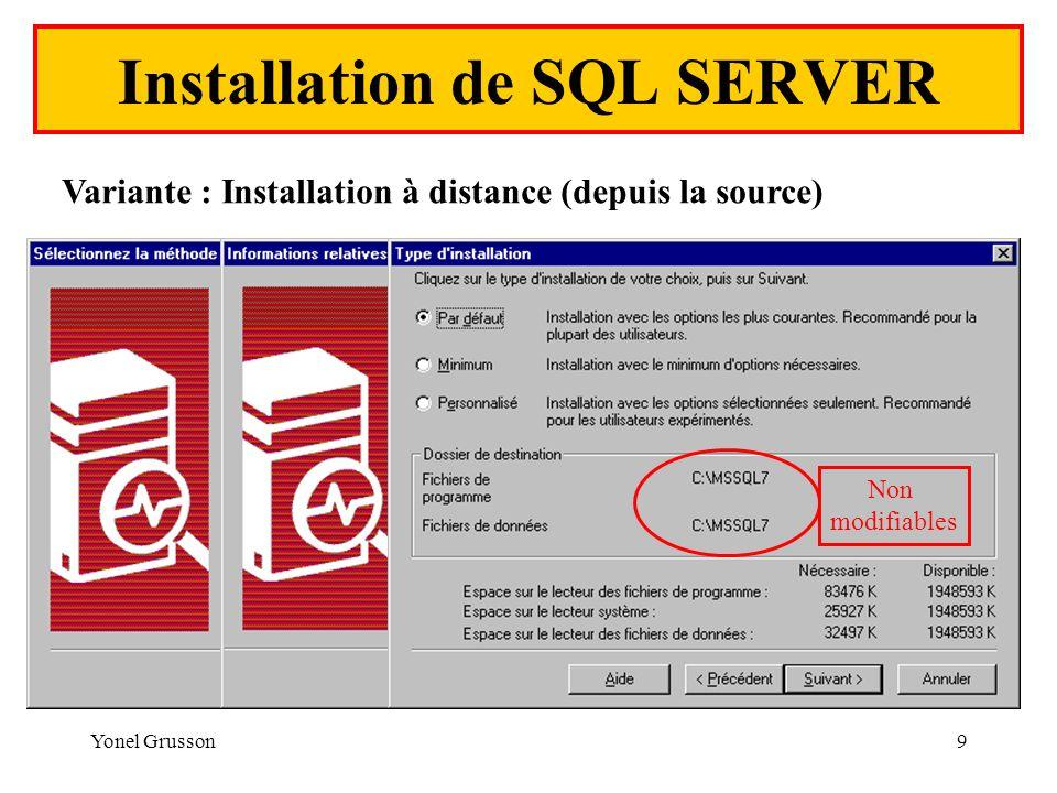 Yonel Grusson9 Installation de SQL SERVER Variante : Installation à distance (depuis la source) Non modifiables