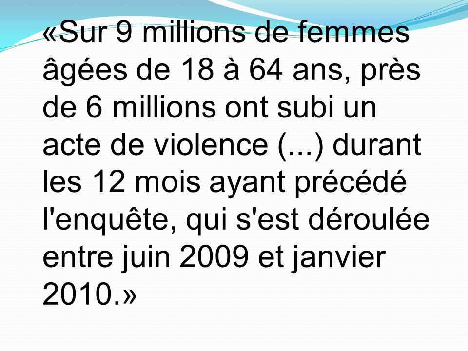 «Sur 9 millions de femmes âgées de 18 à 64 ans, près de 6 millions ont subi un acte de violence (...) durant les 12 mois ayant précédé l'enquête, qui