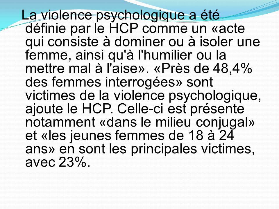 La violence psychologique a été définie par le HCP comme un «acte qui consiste à dominer ou à isoler une femme, ainsi qu'à l'humilier ou la mettre mal