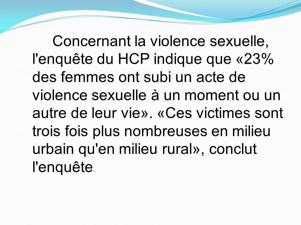 Concernant la violence sexuelle, l'enquête du HCP indique que «23% des femmes ont subi un acte de violence sexuelle à un moment ou un autre de leur vi