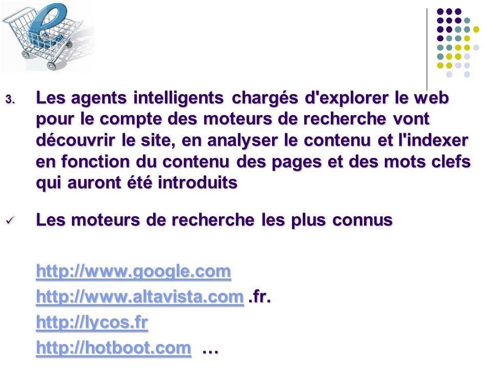 3. Les agents intelligents chargés d'explorer le web pour le compte des moteurs de recherche vont découvrir le site, en analyser le contenu et l'index
