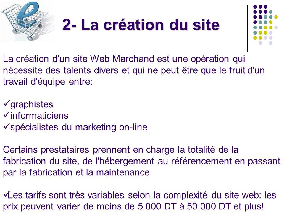 2- La création du site La création dun site Web Marchand est une opération qui nécessite des talents divers et qui ne peut être que le fruit d'un trav