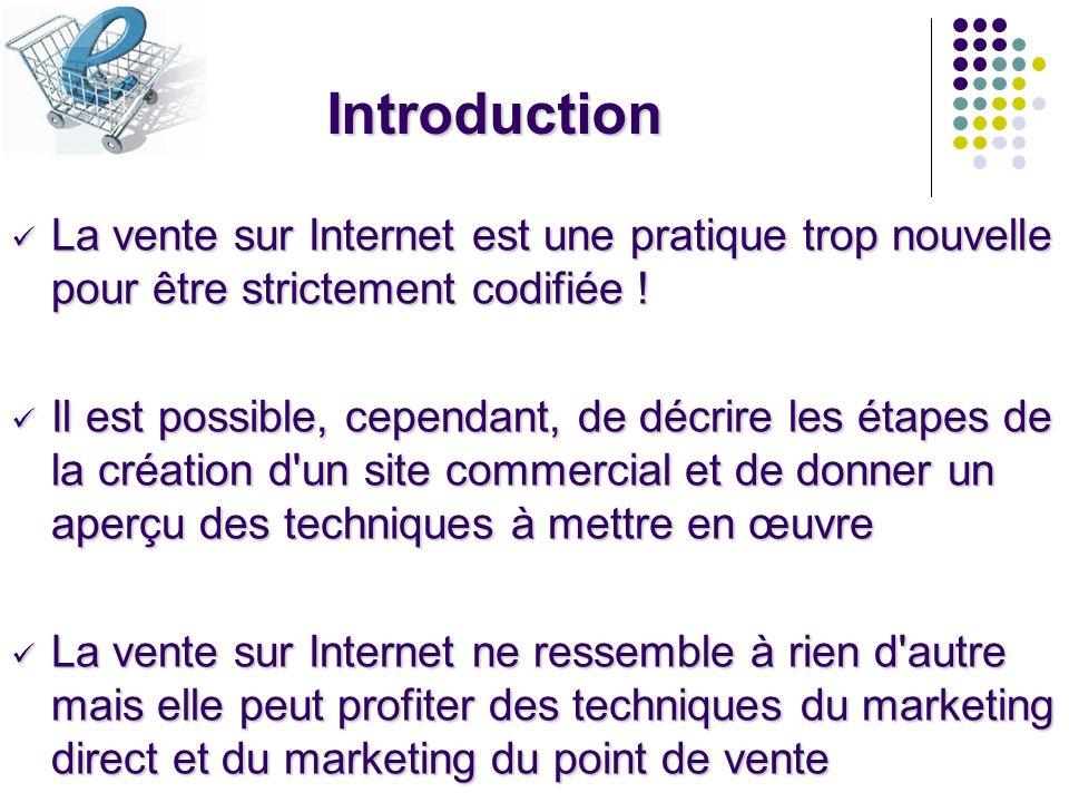 Introduction La vente sur Internet est une pratique trop nouvelle pour être strictement codifiée ! La vente sur Internet est une pratique trop nouvell