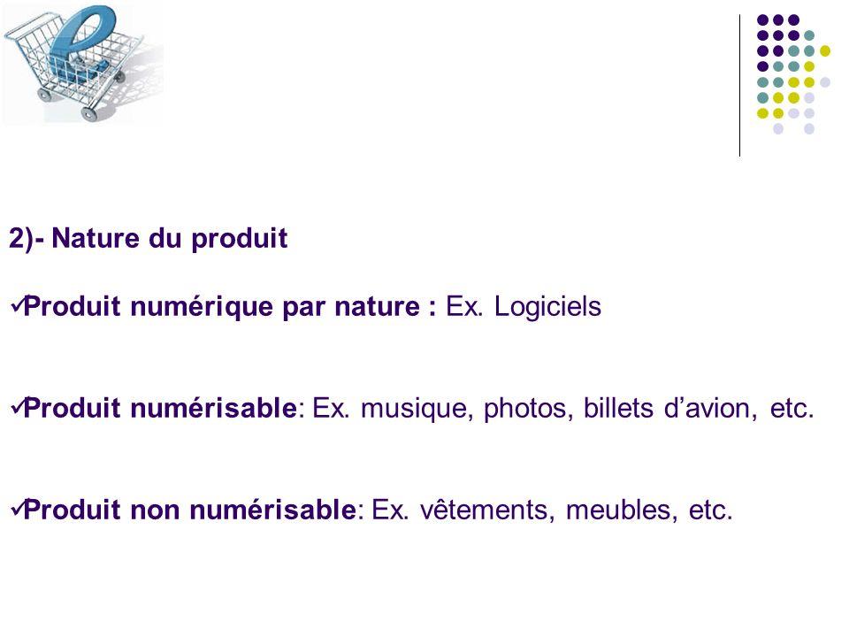 2)- Nature du produit Produit numérique par nature : Ex. Logiciels Produit numérisable: Ex. musique, photos, billets davion, etc. Produit non numérisa