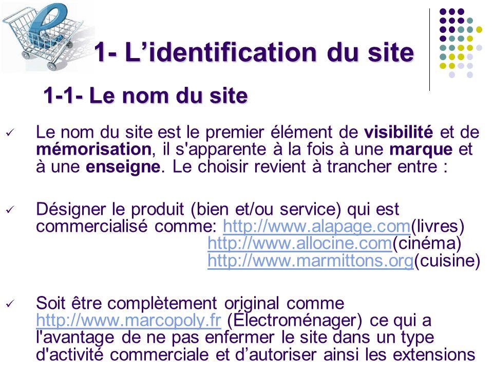 1- Lidentification du site 1-1- Le nom du site Le nom du site est le premier élément de visibilité et de mémorisation, il s'apparente à la fois à une