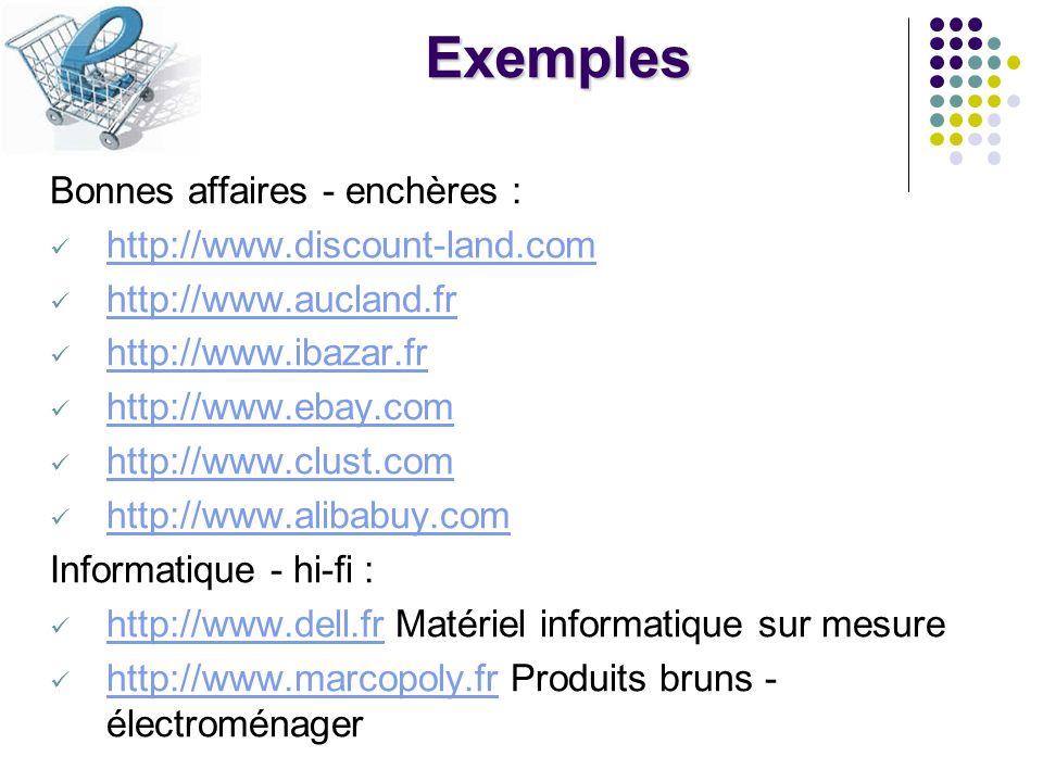 Exemples Vêtements : http://www.boo.com Vêtements branchés http://www.boo.com http://www.valmary.com Chemises sur mesure http://www.valmary.com Fleurs : http://www.aquarelle.com Livres - disques : http://www.alapage.com http://www.bol.fr http://www.boxman.fr http://www.amazon.com http://www.eveiletjeux.fr