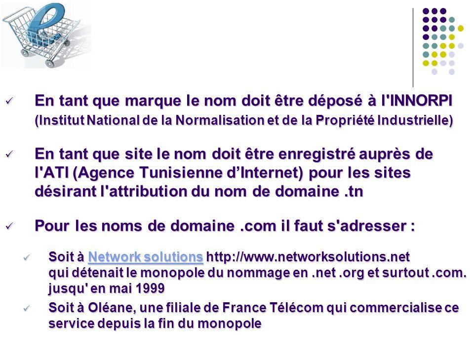 En tant que marque le nom doit être déposé à l'INNORPI (Institut National de la Normalisation et de la Propriété Industrielle) En tant que marque le n
