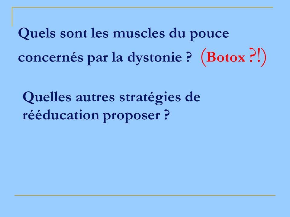 Quels sont les muscles du pouce concernés par la dystonie ? ( Botox ?!) Quelles autres stratégies de rééducation proposer ?