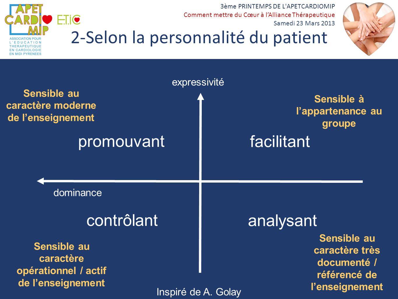 3ème PRINTEMPS DE L'APETCARDIOMIP Comment mettre du Cœur à lAlliance Thérapeutique Samedi 23 Mars 2013 2-Selon la personnalité du patient Sensible à l
