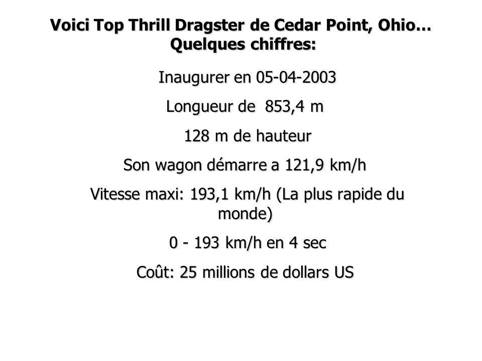 Voici Top Thrill Dragster de Cedar Point, Ohio… Quelques chiffres: Inaugurer en 05-04-2003 Inaugurer en 05-04-2003 Longueur de 853,4 m 128 m de hauteu