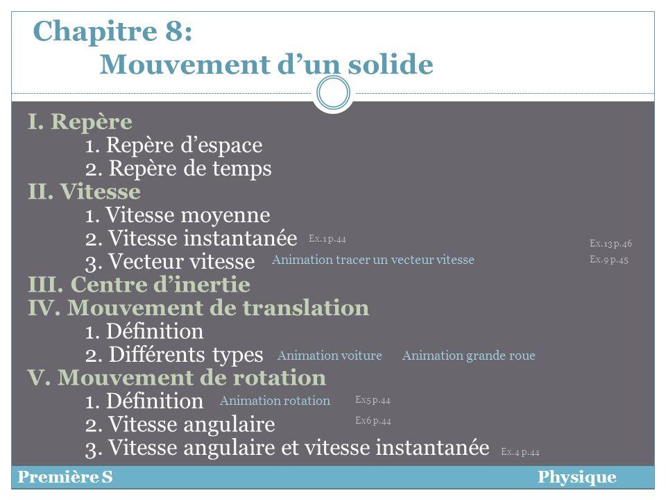 Chapitre 8: Mouvement dun solide I. Repère Première SPhysique 1. Repère despace 2. Repère de temps II. Vitesse 1. Vitesse moyenne 2. Vitesse instantan