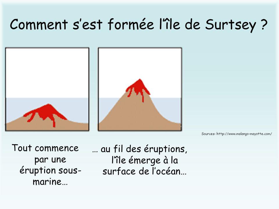 Comment sest formée lîle de Surtsey ? Tout commence par une éruption sous- marine… … au fil des éruptions, lîle émerge à la surface de locéan… Sources