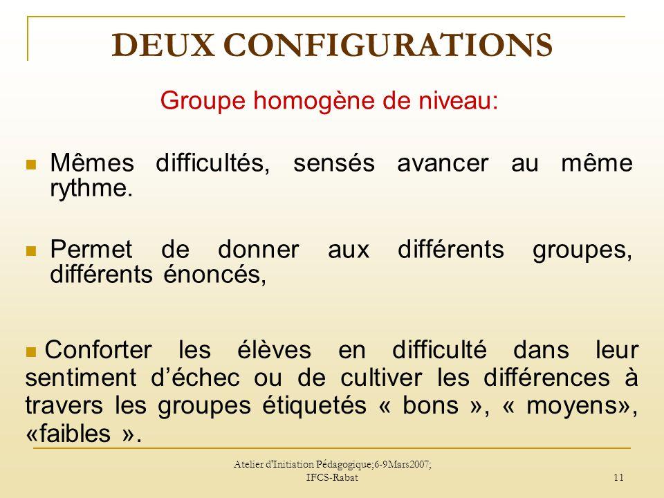 Atelier d Initiation Pédagogique;6-9Mars2007; IFCS-Rabat 11 DEUX CONFIGURATIONS Groupe homogène de niveau: Mêmes difficultés, sensés avancer au même rythme.