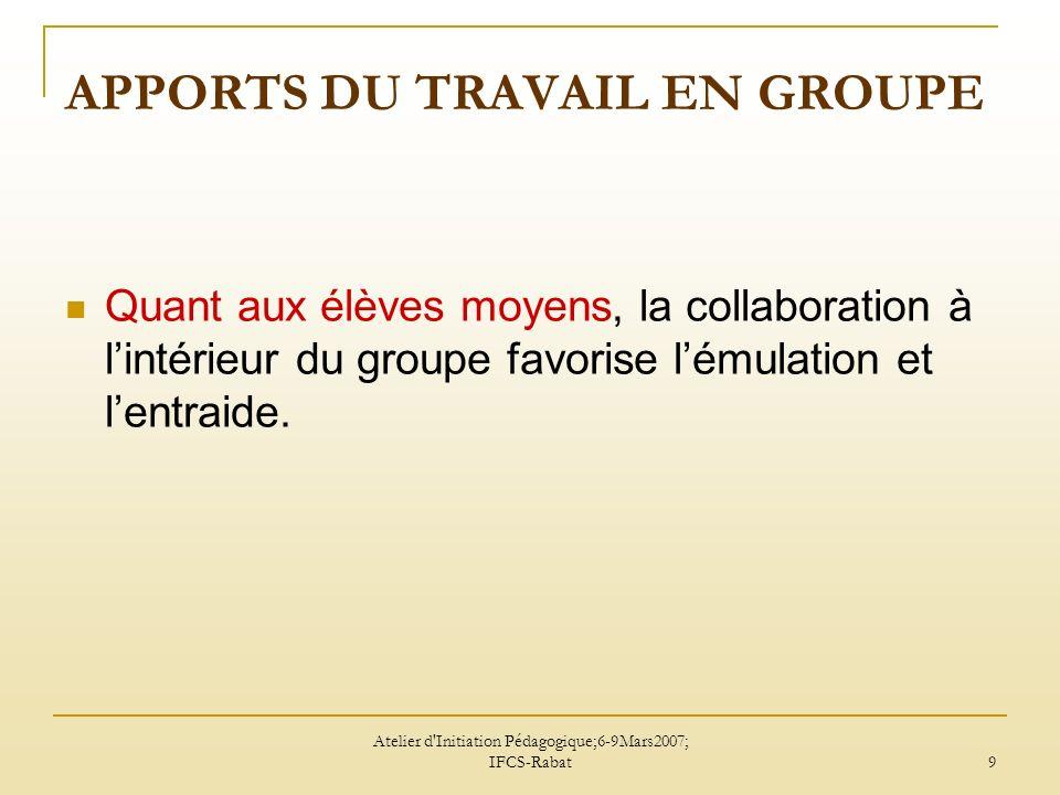 Atelier d Initiation Pédagogique;6-9Mars2007; IFCS-Rabat 10 A votre avis, travail en groupes de même niveau ou de niveaux différents.
