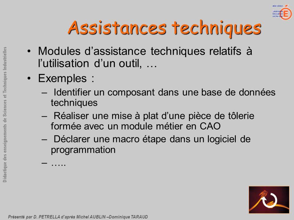 Présenté par D. PETRELLA daprès Michel AUBLIN –Dominique TARAUD Didactique des enseignements de Sciences et Techniques Industrielles Assistances techn