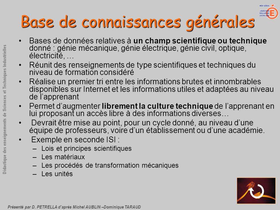 Présenté par D. PETRELLA daprès Michel AUBLIN –Dominique TARAUD Didactique des enseignements de Sciences et Techniques Industrielles Base de connaissa