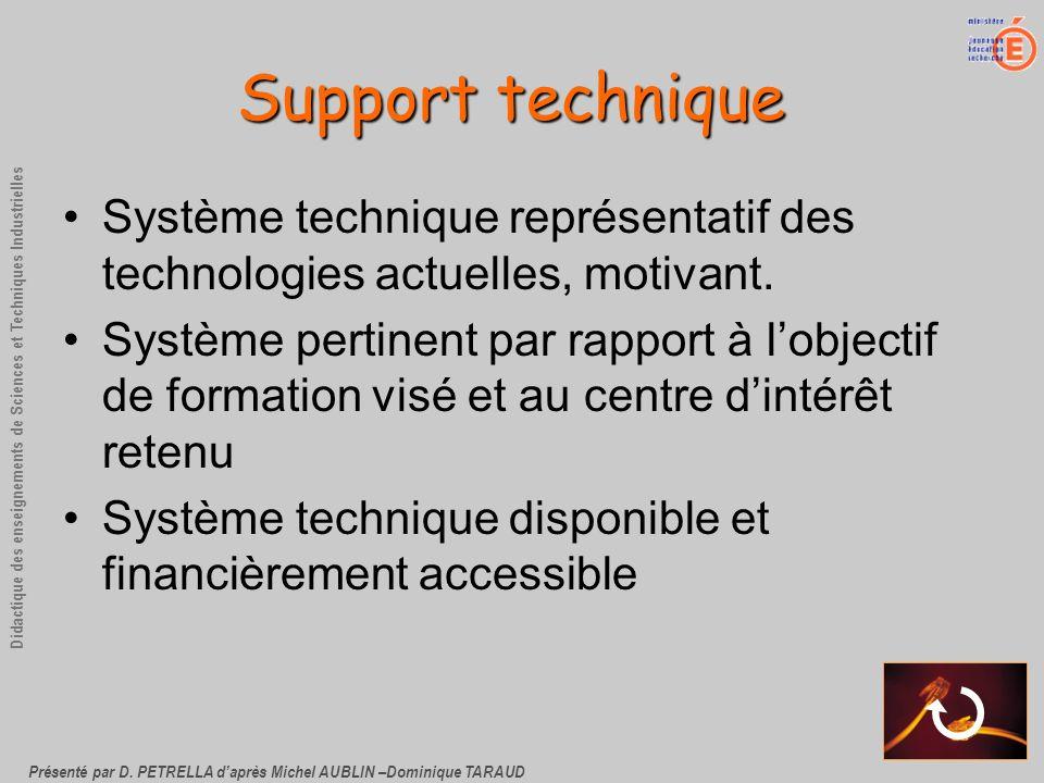 Présenté par D. PETRELLA daprès Michel AUBLIN –Dominique TARAUD Didactique des enseignements de Sciences et Techniques Industrielles Support technique