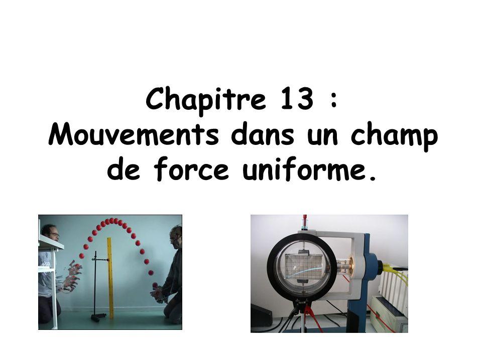 Chapitre 13 : Mouvements dans un champ de force uniforme.