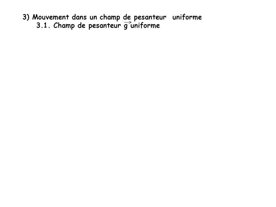 3) Mouvement dans un champ de pesanteur uniforme 3.1. Champ de pesanteur g uniforme