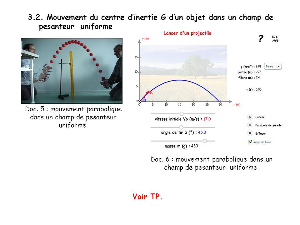 3.2. Mouvement du centre dinertie G dun objet dans un champ de pesanteur uniforme Voir TP. Doc. 5 : mouvement parabolique dans un champ de pesanteur u