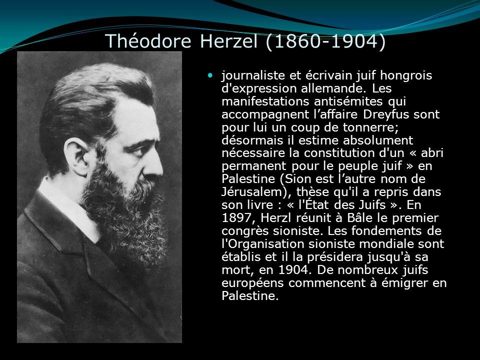Théodore Herzel (1860-1904) journaliste et écrivain juif hongrois d'expression allemande. Les manifestations antisémites qui accompagnent laffaire Dre