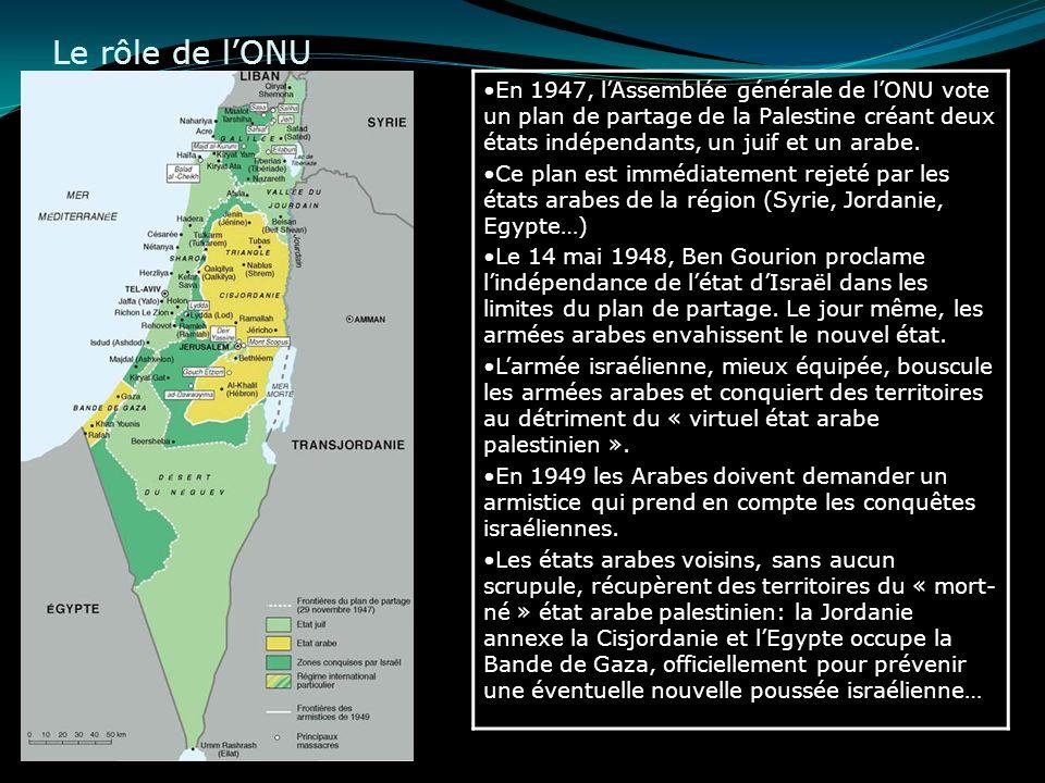 Le rôle de lONU En 1947, lAssemblée générale de lONU vote un plan de partage de la Palestine créant deux états indépendants, un juif et un arabe. Ce p