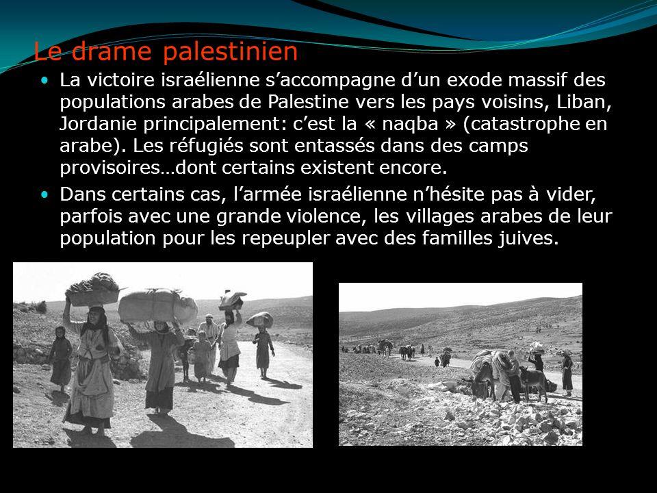 Le drame palestinien La victoire israélienne saccompagne dun exode massif des populations arabes de Palestine vers les pays voisins, Liban, Jordanie p