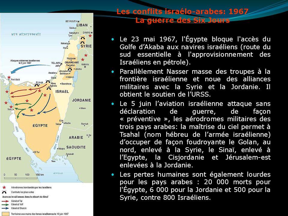 Les conflits israélo-arabes: 1967 La guerre des Six Jours Le 23 mai 1967, l'Égypte bloque l'accès du Golfe dAkaba aux navires israéliens (route du sud