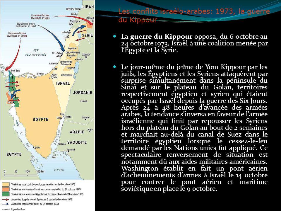 Les conflits israélo-arabes: 1973, la guerre du Kippour La guerre du Kippour opposa, du 6 octobre au 24 octobre 1973, Israël à une coalition menée par