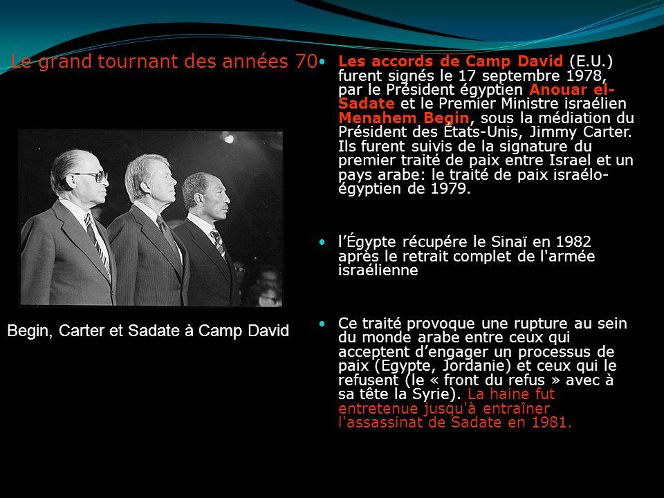 Le grand tournant des années 70 Les accords de Camp David (E.U.) furent signés le 17 septembre 1978, par le Président égyptien Anouar el- Sadate et le
