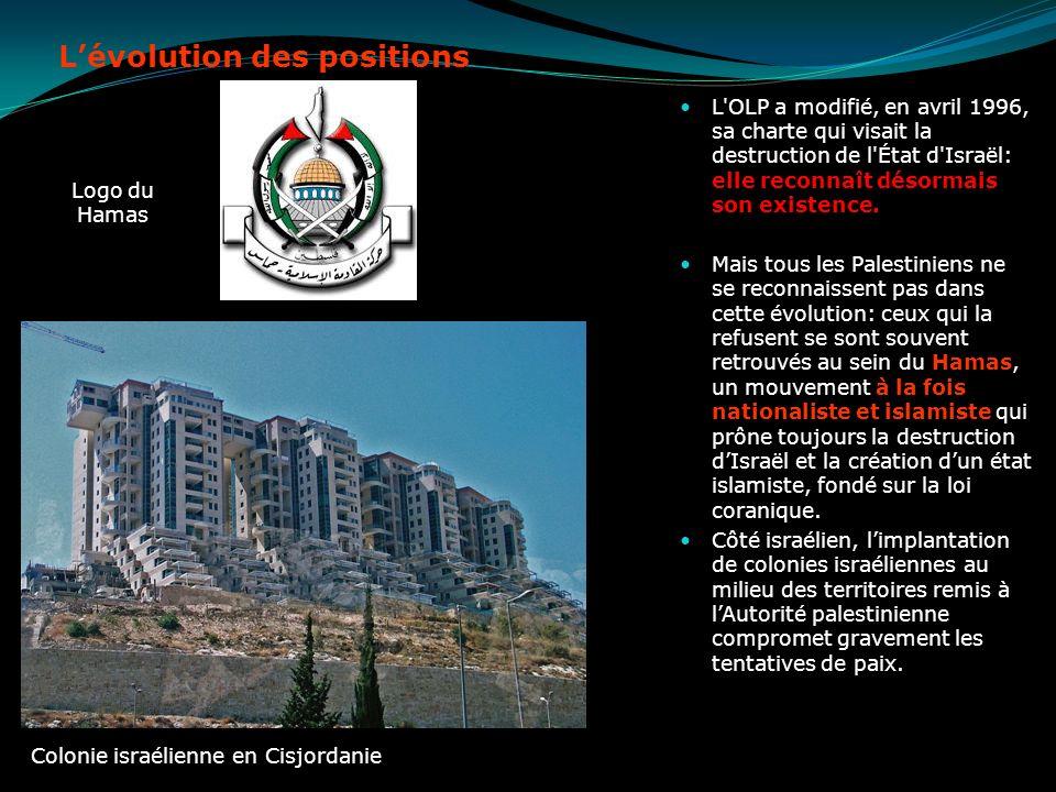 Lévolution des positions L'OLP a modifié, en avril 1996, sa charte qui visait la destruction de l'État d'Israël: elle reconnaît désormais son existenc
