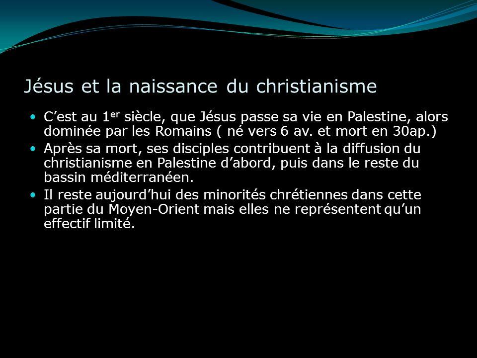 Jésus et la naissance du christianisme Cest au 1 er siècle, que Jésus passe sa vie en Palestine, alors dominée par les Romains ( né vers 6 av. et mort