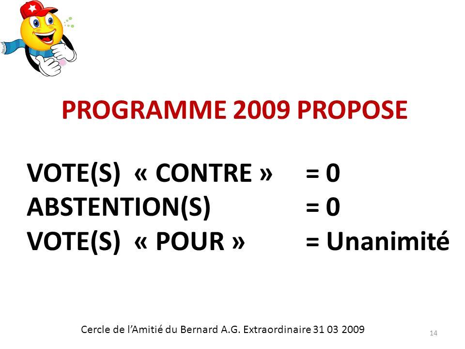 PROGRAMME 2009 PROPOSE Cercle de lAmitié du Bernard A.G.