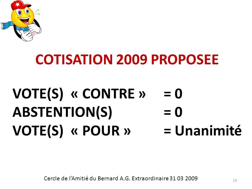 COTISATION 2009 PROPOSEE Cercle de lAmitié du Bernard A.G.