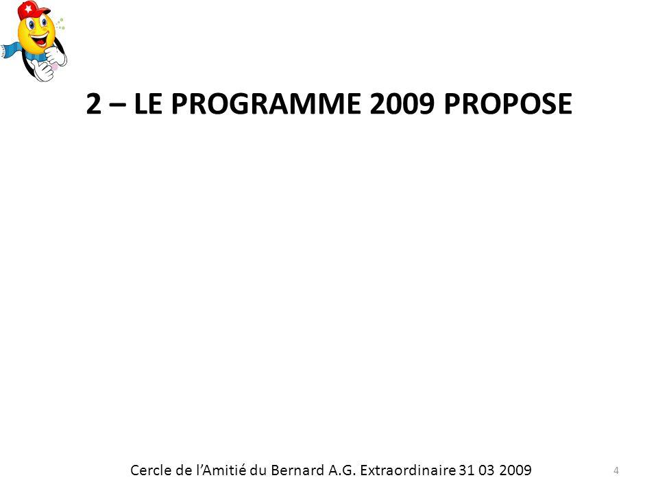 2 – LE PROGRAMME 2009 PROPOSE Cercle de lAmitié du Bernard A.G. Extraordinaire 31 03 2009 4