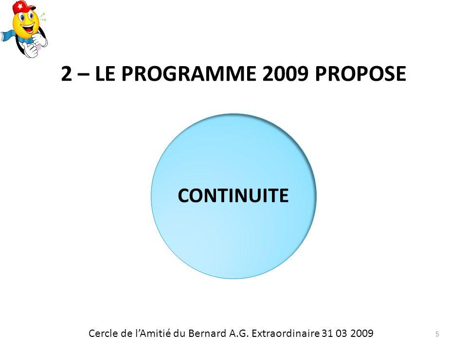2 – LE PROGRAMME 2009 PROPOSE CONTINUITE Cercle de lAmitié du Bernard A.G.