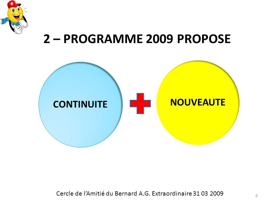 2 – PROGRAMME 2009 PROPOSE CONTINUITENOUVEAUTE Cercle de lAmitié du Bernard A.G.
