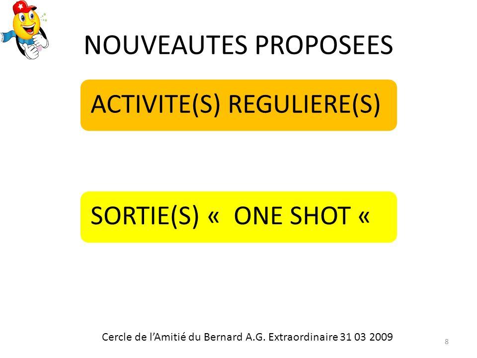 NOUVEAUTES PROPOSEES ACTIVITE(S) REGULIERE(S)SORTIE(S) « ONE SHOT « Cercle de lAmitié du Bernard A.G.