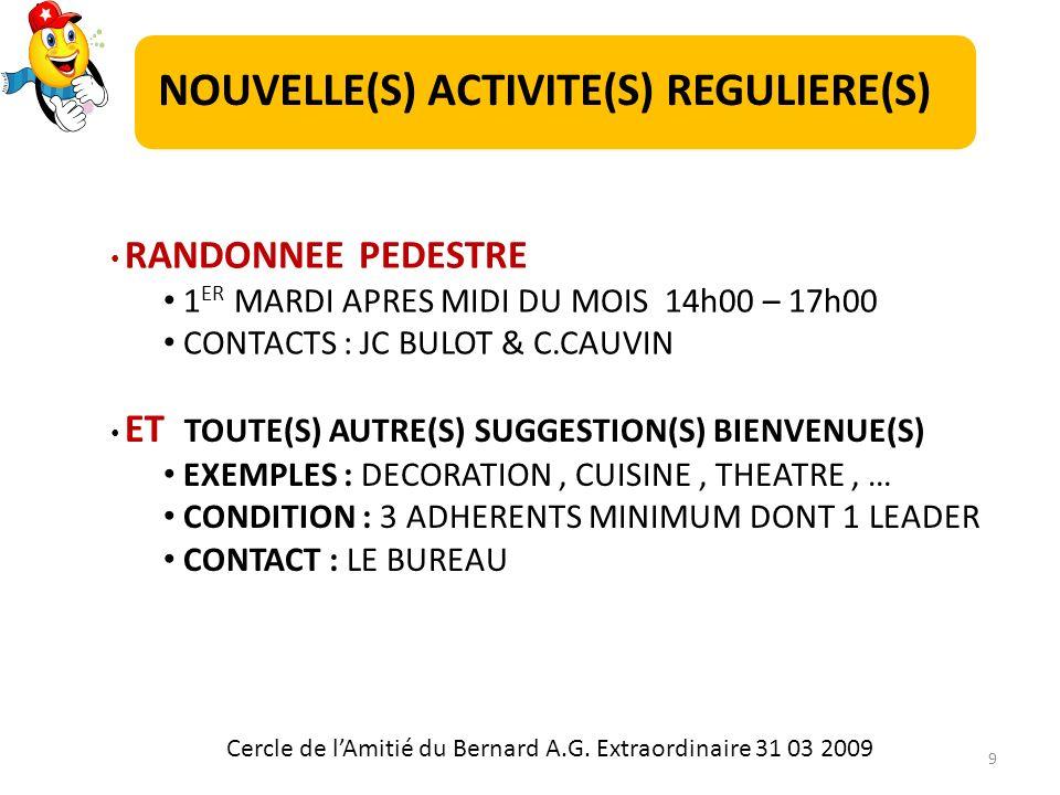 RANDONNEE PEDESTRE 1 ER MARDI APRES MIDI DU MOIS 14h00 – 17h00 CONTACTS : JC BULOT & C.CAUVIN ET TOUTE(S) AUTRE(S) SUGGESTION(S) BIENVENUE(S) EXEMPLES : DECORATION, CUISINE, THEATRE, … CONDITION : 3 ADHERENTS MINIMUM DONT 1 LEADER CONTACT : LE BUREAU Cercle de lAmitié du Bernard A.G.