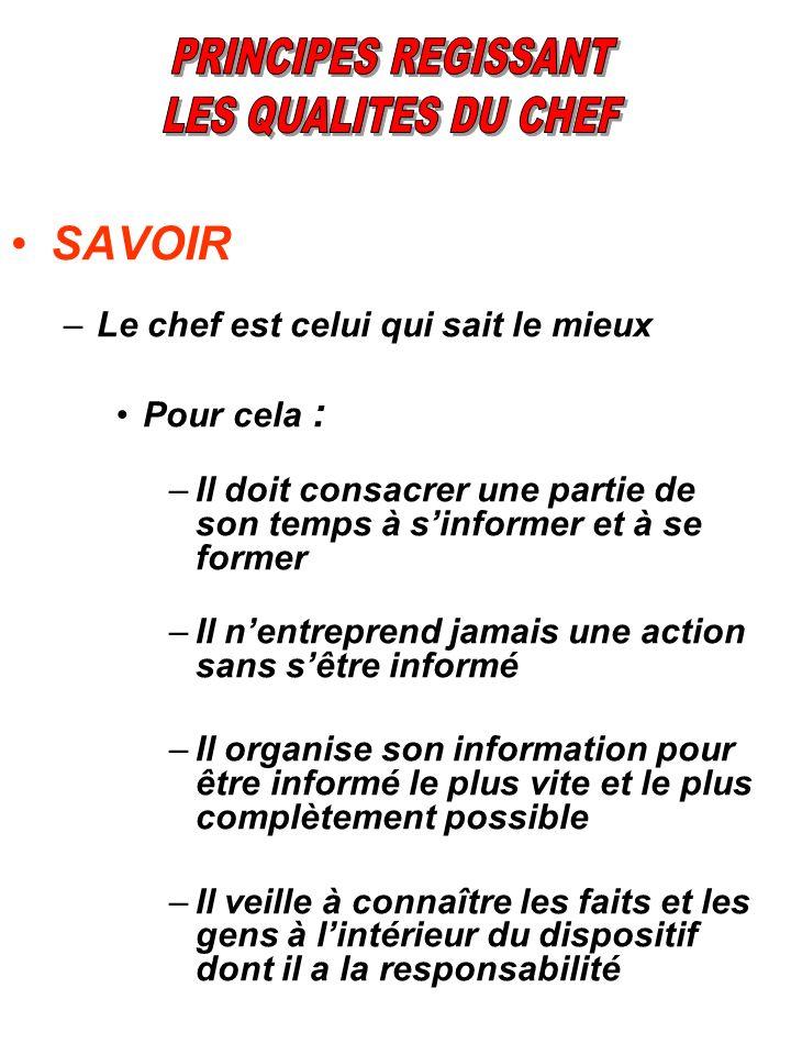 SAVOIR –Le chef est celui qui sait le mieux Pour cela : –Il doit consacrer une partie de son temps à sinformer et à se former –Il nentreprend jamais u