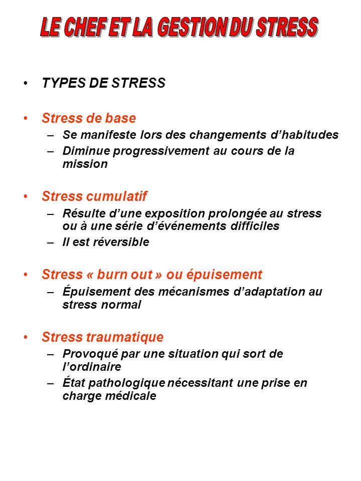 TYPES DE STRESS Stress de base –Se manifeste lors des changements dhabitudes –Diminue progressivement au cours de la mission Stress cumulatif –Résulte