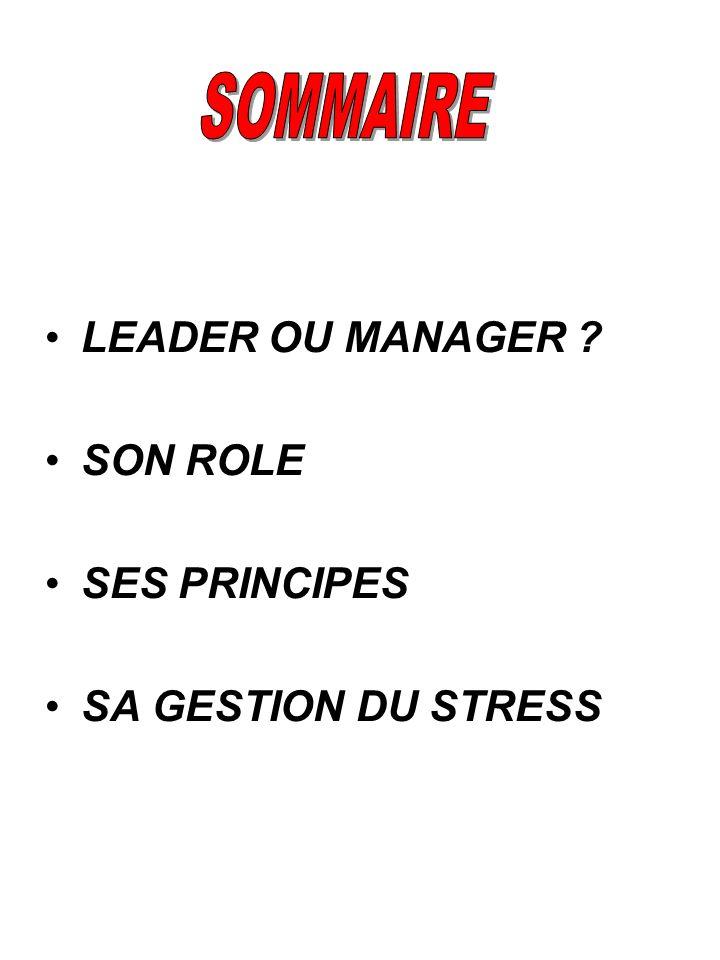 LEADER OU MANAGER ? SON ROLE SES PRINCIPES SA GESTION DU STRESS