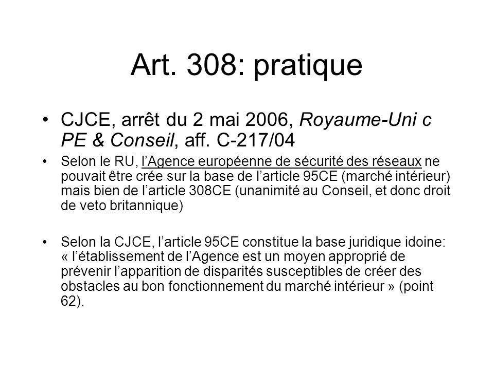 Art. 308: pratique CJCE, arrêt du 2 mai 2006, Royaume-Uni c PE & Conseil, aff. C-217/04 Selon le RU, lAgence européenne de sécurité des réseaux ne pou